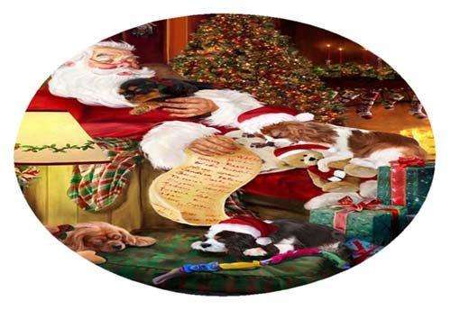 Cavalier King Charles Spaniel Dog and Puppies Sleeping with Santa Oval Envelope Seals