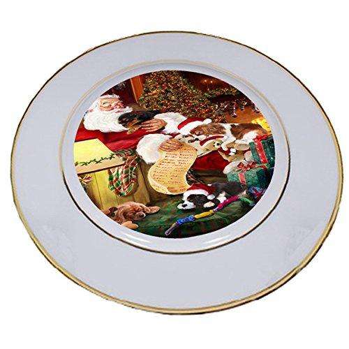 Cavalier King Charles Spaniel Dog and Puppies Sleeping with Santa Porcelain Plate