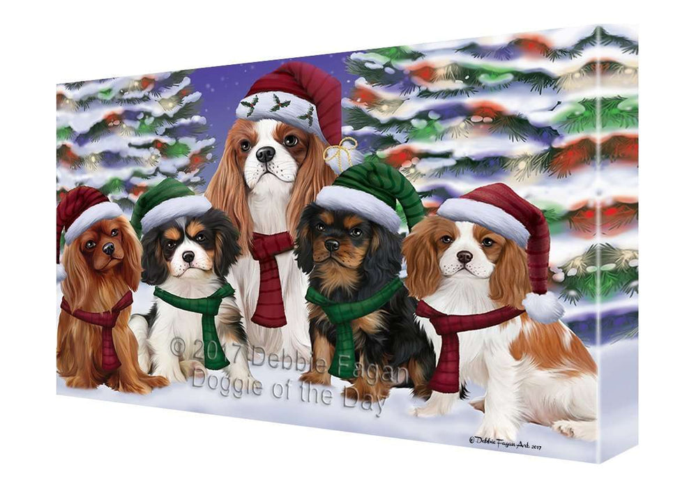 Cavalier King Charles Spaniel Dog Christmas Family Portrait in Holiday Scenic Background Canvas Wall Art