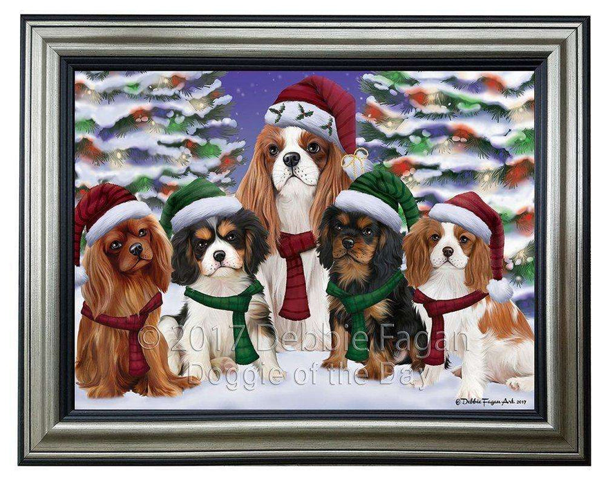 Cavalier King Charles Spaniel Dog Christmas Family Portrait in Holiday Scenic Background Framed Canvas Print Wall Art