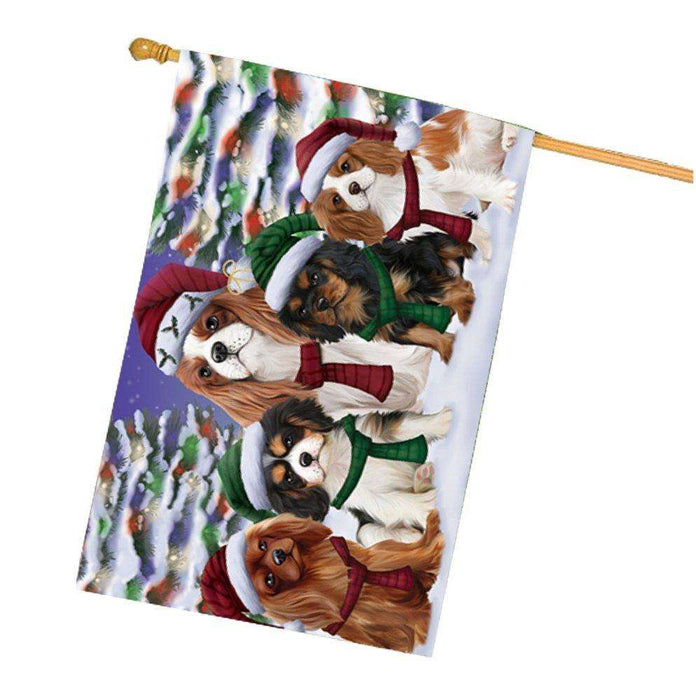 Cavalier King Charles Spaniel Dog Christmas Family Portrait in Holiday Scenic Background House Flag