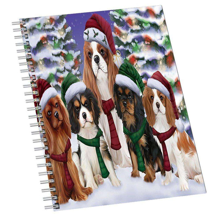 Cavalier King Charles Spaniel Dog Christmas Family Portrait in Holiday Scenic Background Notebook