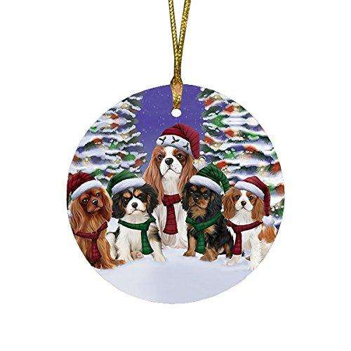 Cavalier King Charles Spaniel Dog Christmas Family Portrait in Holiday Scenic Background Round Ornament