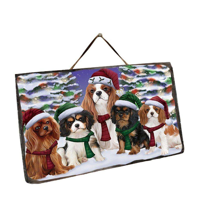 Cavalier King Charles Spaniel Dog Christmas Family Portrait in Holiday Scenic Background Wall Décor Hanging Photo Slate