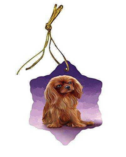 Cavalier King Charles Spaniel Dog Christmas Snowflake Ceramic Ornament