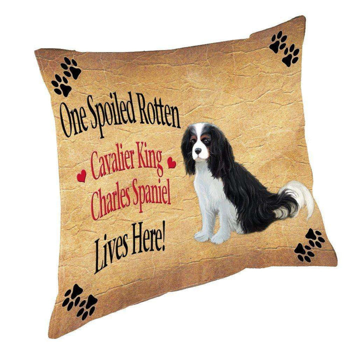 Cavalier King Charles Spaniel Spoiled Rotten Dog Throw Pillow