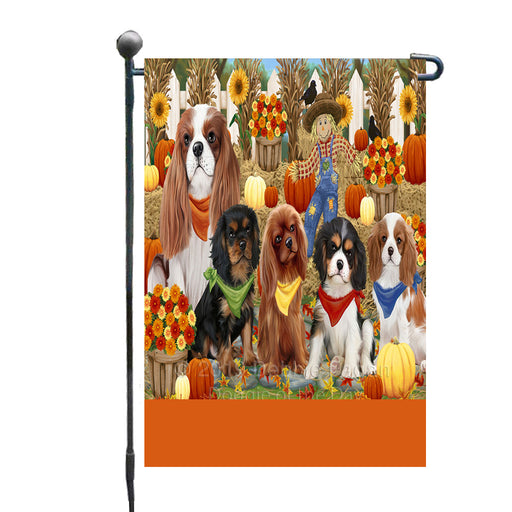 Personalized Fall Festive Gathering Cavalier King Charles Spaniel Dogs with Pumpkins Custom Garden Flags GFLG-DOTD-A61863
