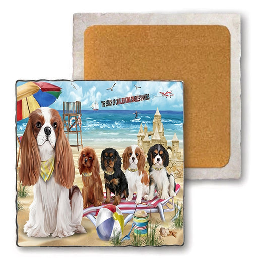 Pet Friendly Beach Cavalier King Charles Spaniel Dogs Set of 4 Natural Stone Marble Tile Coasters MCST52078P