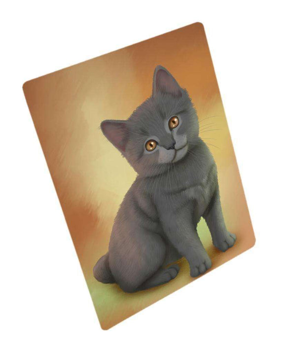 Chartreux Kitten Cat Art Portrait Print Woven Throw Sherpa Plush Fleece Blanket