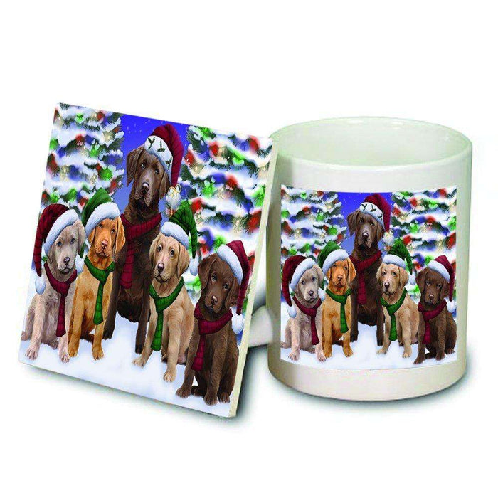 Chesapeake Bay Retriever Dog Christmas Family Portrait in Holiday Scenic Background Mug and Coaster Set
