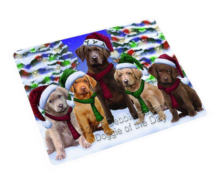 Chesapeake Bay Retriever Dog Christmas Family Portrait in Holiday Scenic Background Tempered Cutting Board