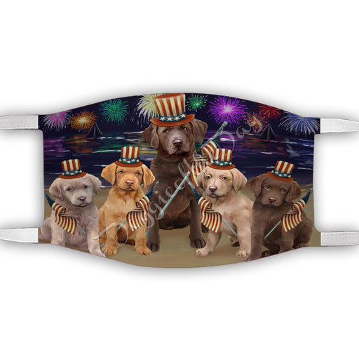 4th of July Independence Day Chesapeake Bay Retriever Dogs Face Mask FM49393