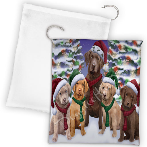 Chesapeake Bay Retriever Dogs Christmas Family Portrait in Holiday Scenic Background Drawstring Laundry or Gift Bag LGB48131