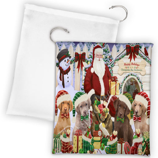 Happy Holidays Christmas Chesapeake Bay Retriever Dogs House Gathering Drawstring Laundry or Gift Bag LGB48034