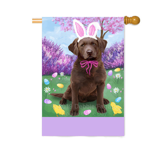 Personalized Easter Holiday Chesapeake Bay Retriever Dog Custom House Flag FLG-DOTD-A58870