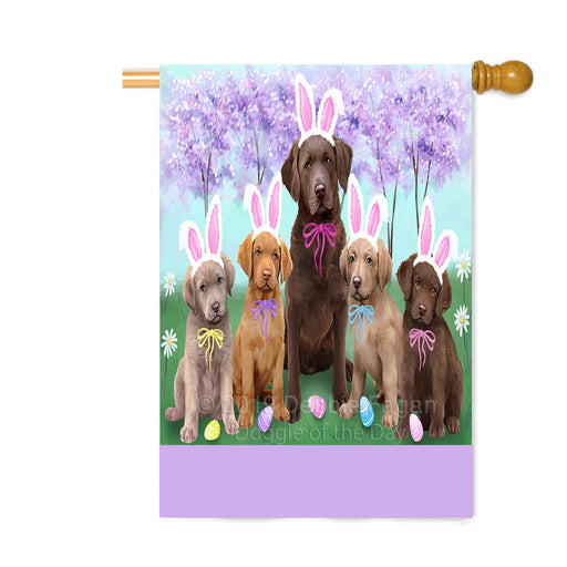 Personalized Easter Holiday Chesapeake Bay Retriever Dogs Custom House Flag FLG-DOTD-A58871