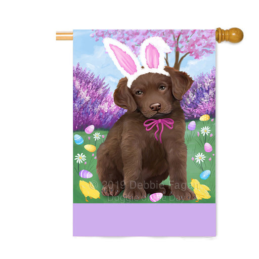 Personalized Easter Holiday Chesapeake Bay Retriever Dog Custom House Flag FLG-DOTD-A58873