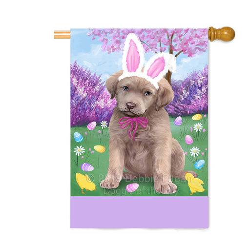 Personalized Easter Holiday Chesapeake Bay Retriever Dog Custom House Flag FLG-DOTD-A58874