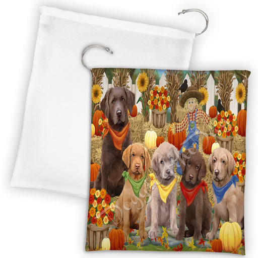 Fall Festive Harvest Time Gathering Chesapeake Bay Retriever Dogs Drawstring Laundry or Gift Bag LGB48392