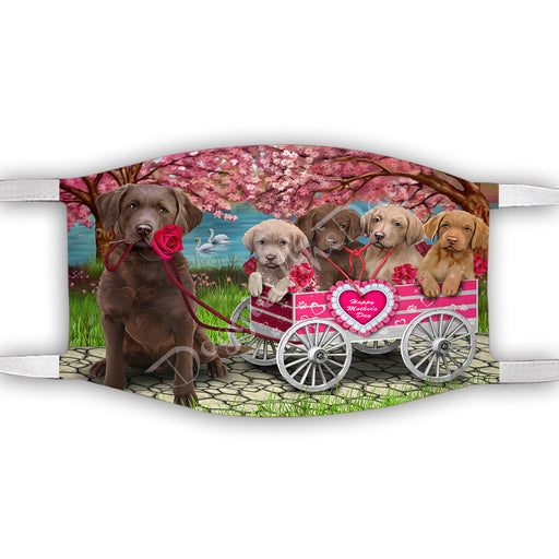 I Love Chesapeake Bay Retriever Dogs in a Cart Face Mask FM48134