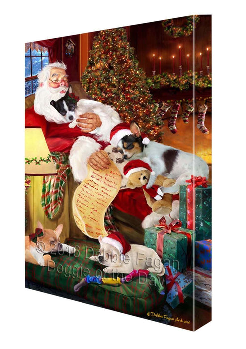 "Chihuahua Dog and Puppies Sleeping with Santa Canvas Gallery Wrap 1.5"" Inch"