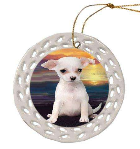 Chihuahua Dog Christmas Doily Ceramic Ornament