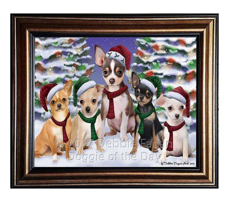 Chihuahua Dog Christmas Family Portrait in Holiday Scenic Background Framed Canvas Print Wall Art