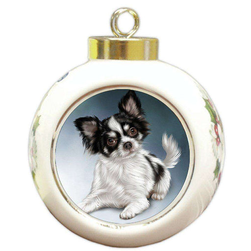 Chihuahua Dog Round Ball Christmas Ornament