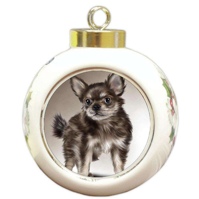 Chihuahua Puppy Dog Round Ball Christmas Ornament