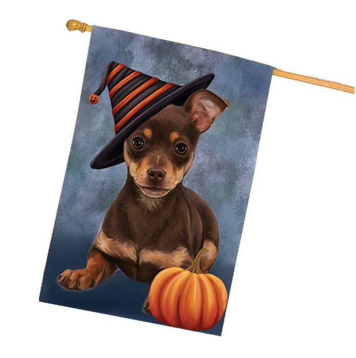 Chihuahua Puppy Dog Wearing Witch Hat with Pumpkin House Flag
