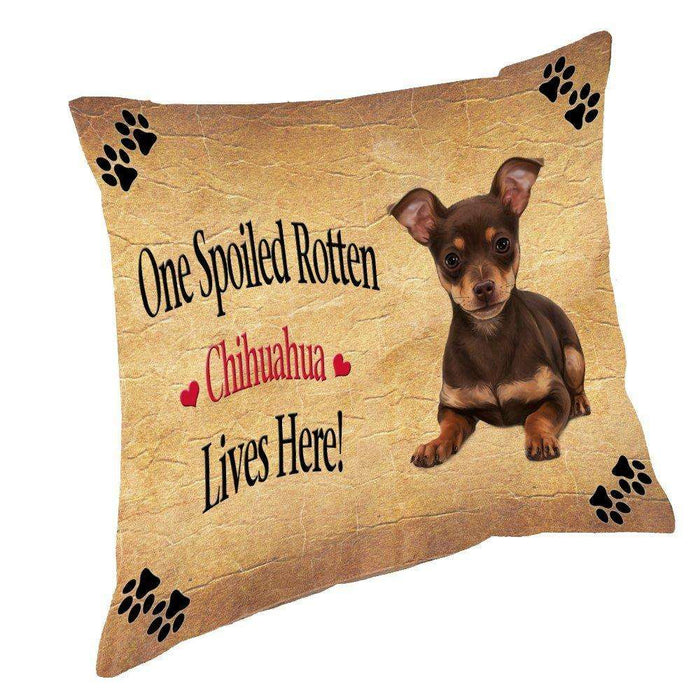 Chihuahua Puppy Spoiled Rotten Dog Throw Pillow