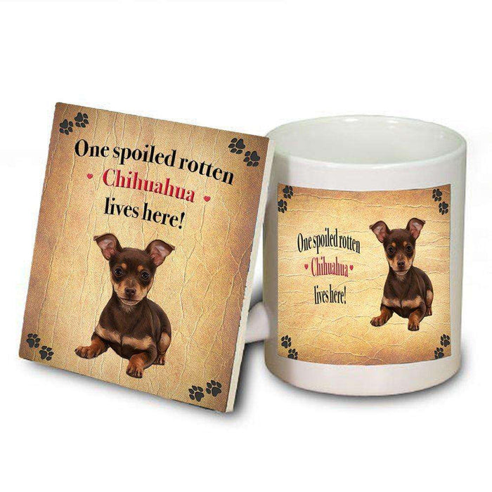 Chihuahua Spoiled Rotten Dog Coaster and Mug Combo Gift Set