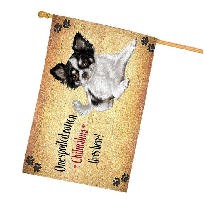 Chihuahua Spoiled Rotten Dog House Flag