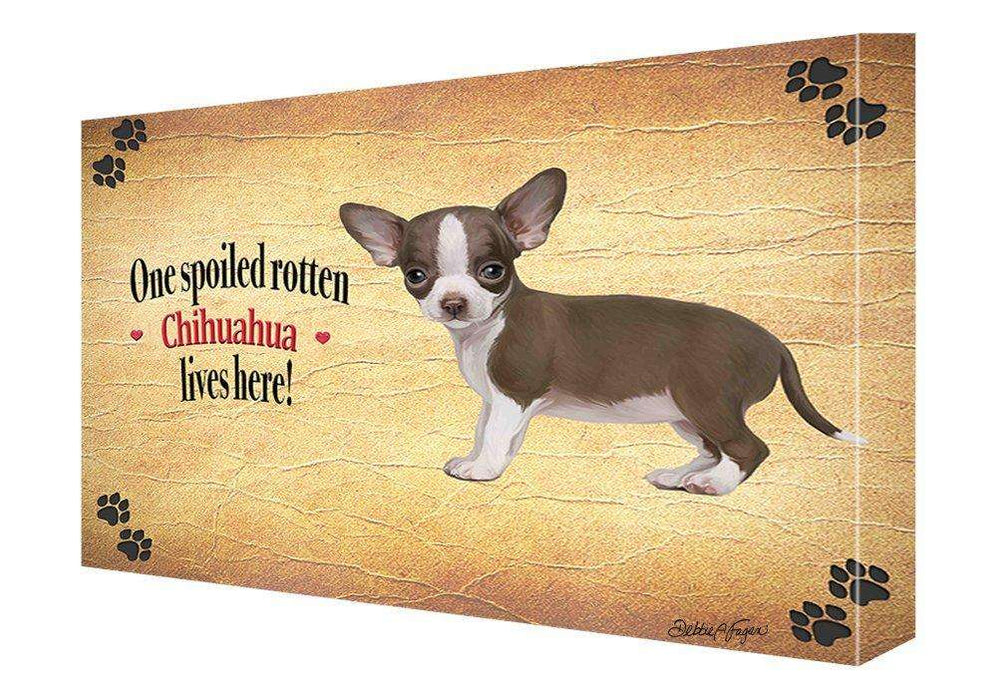 Chihuahua Spoiled Rotten Dog Painting Printed on Canvas Wall Art Signed