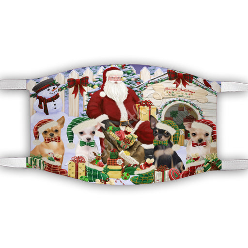 Happy Holidays Christmas Chihuahua Dogs House Gathering Face Mask FM48237