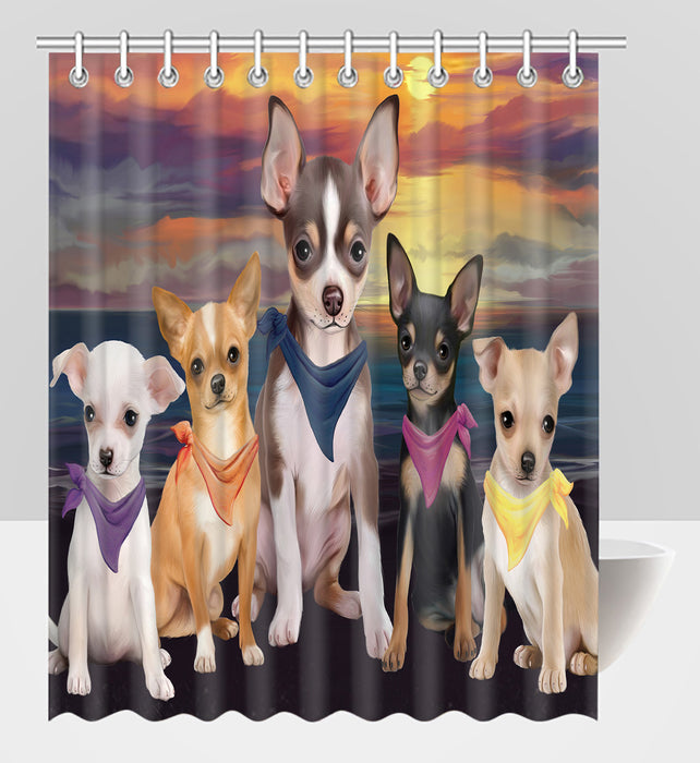 Family Sunset Portrait Chihuahua Dogs Shower Curtain