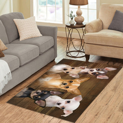 Rustic Chihuahua Dogs Area Rug