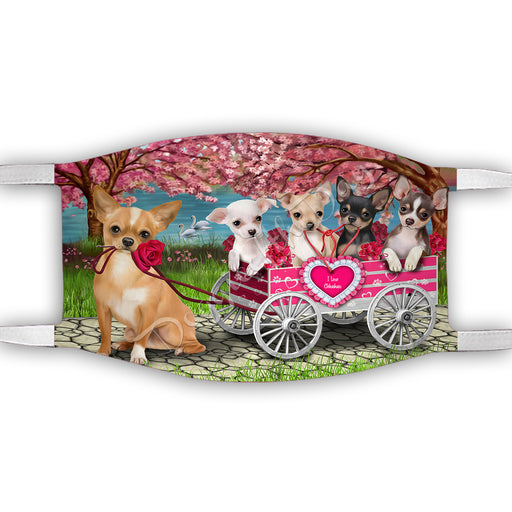 I Love Chihuahua Dogs in a Cart Face Mask FM48135