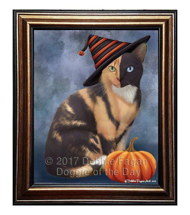 Chimera Cat Wearing Witch Hat with Pumpkin Framed Canvas Print Wall Art