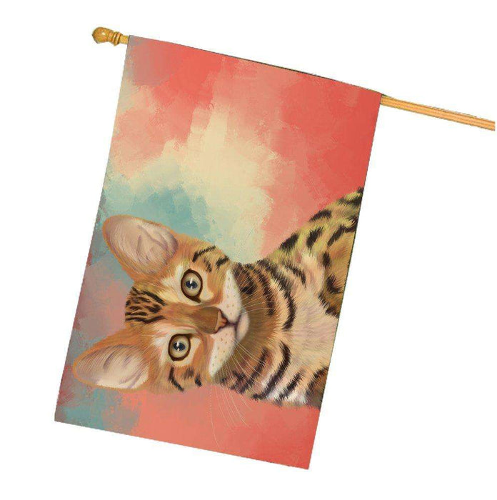 Chinese Li Hua Kitten Cat House Flag