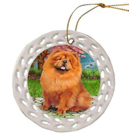 Chow Chow Dog Christmas Doily Ceramic Ornament