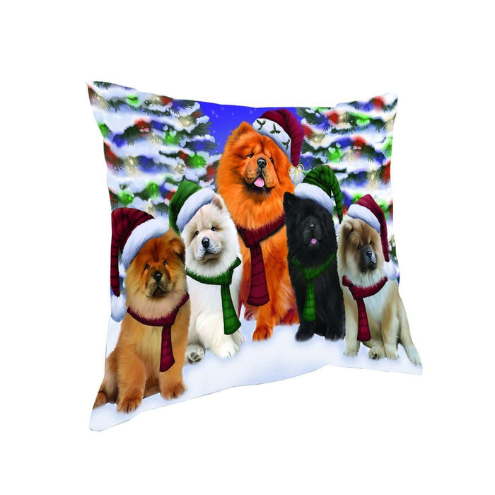 Chow Chow Dog Christmas Family Portrait in Holiday Scenic Background Throw Pillow