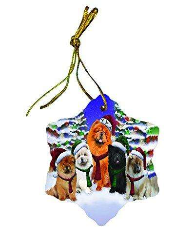 Chow Chow Dog Christmas Snowflake Ceramic Ornament