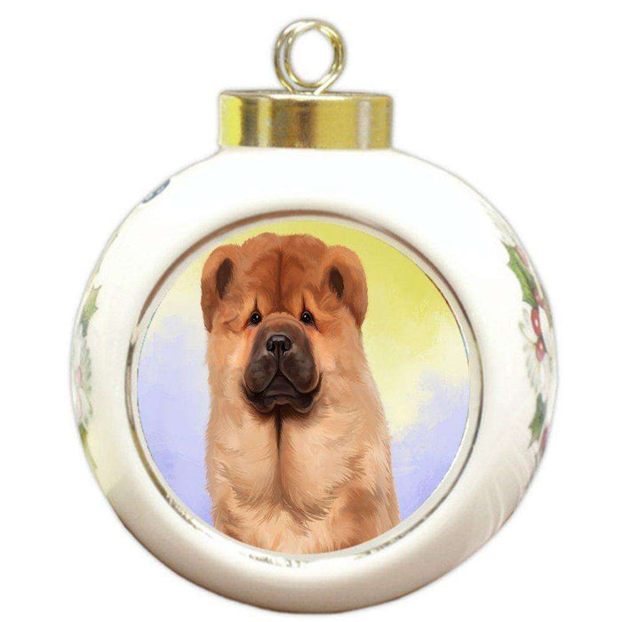 Chow Chow Dog Round Ball Christmas Ornament