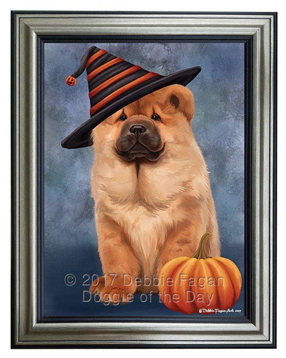 Chow Chow Dog Wearing Witch Hat with Pumpkin Framed Canvas Print Wall Art