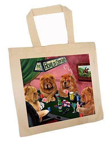 Chow Chow Four Dogs Playing Poker Tote