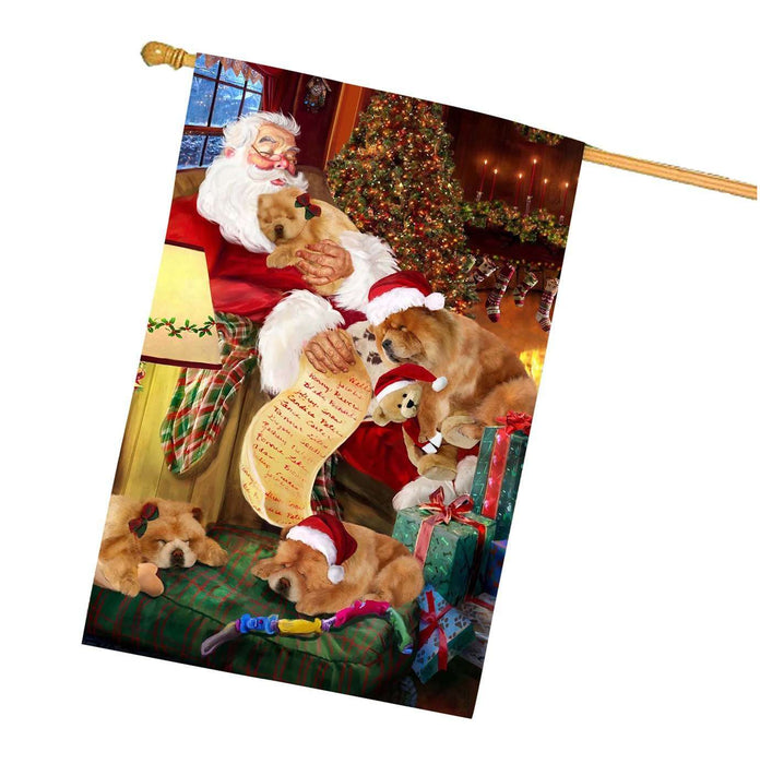 Chow Chow Painting Dog and Puppies Sleeping with Santa House Flag