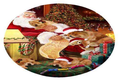 Chow Chow Painting Dog and Puppies Sleeping with Santa Oval Envelope Seals