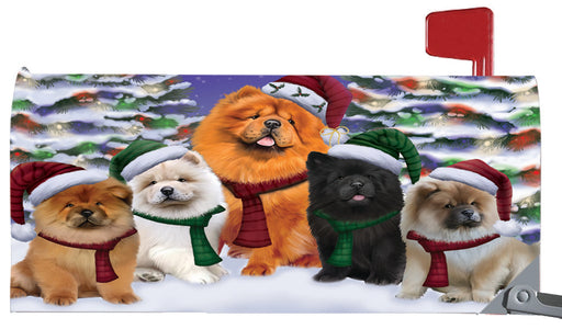 Magnetic Mailbox Cover Chow Chows Dog Christmas Family Portrait in Holiday Scenic Background MBC48216