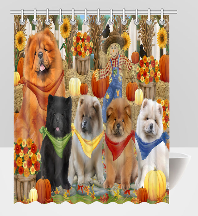 Fall Festive Harvest Time Gathering Chow Chow Dogs Shower Curtain